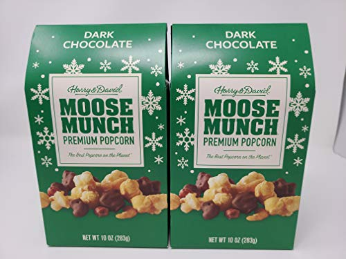 Harry & David Holiday Moose Munch Premium Popcorn Dark Chocolate 10 oz, 2 Boxes