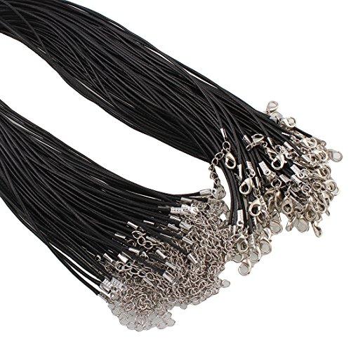 Perlin 10 SCHMUCKBAND Halsband SCHWARZ 46cm Hals BAUMWOLLKORDEL GEWACHST 1,5mm, Halskette Geflochtet mit Karabiner Verschluss C157