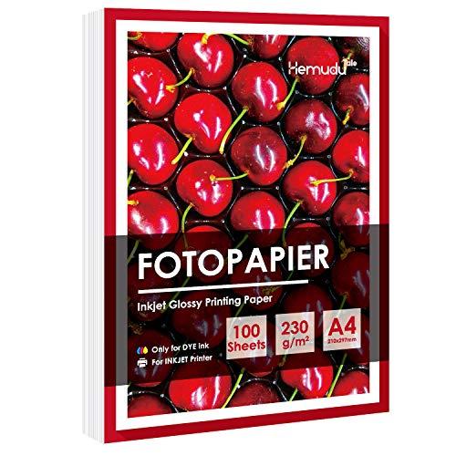 Hemudutale Glossy Fotopapier für Tintenstrahldrucker DIN A4 100 Blatt, Premium Hochglänzend Weiß, Schnell Trocknen, Besonders Glatt, 230g/㎡