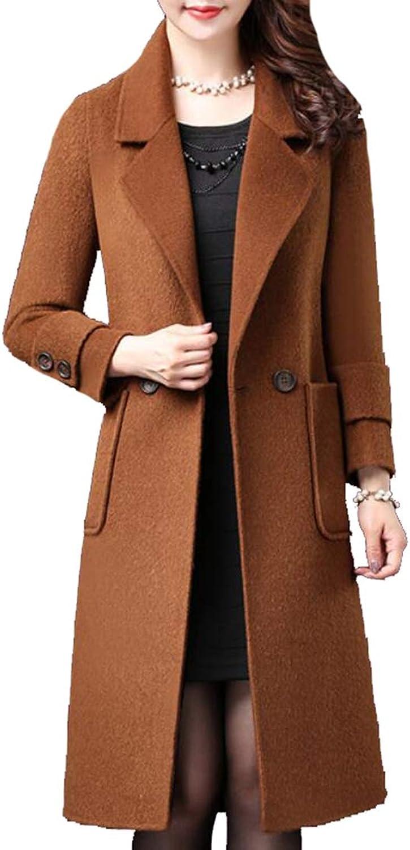 Emastor Women DoubleBreasted Slim Solid WoolBlend Winter Pea Coats Overcoat