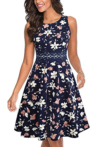 HOMEYEE Women's Sleeveless Cocktail A-Line Embroidery Party Summer Dress A079 (6, Flower)