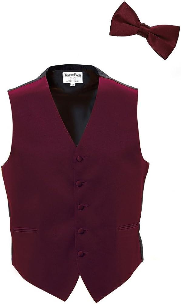 Burgundy Satin Tuxedo Vest and Bow Tie