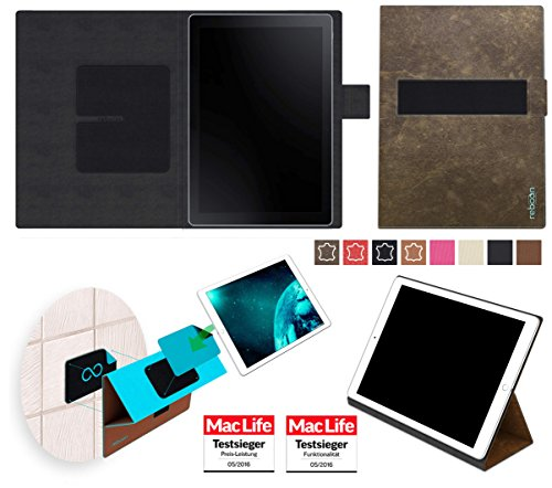 reboon Hülle für Samsung Galaxy Book 10.6 (LTE) Tasche Cover Case Bumper | in Braun Wildleder | Testsieger