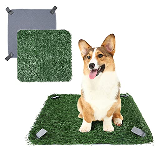 SCENEREAL Artificial Dog Grass Pad, Washable Pee Pad Non-Slip and Portable Turf Replacement, Indoor Potty Training Pad for Puppies Dogs