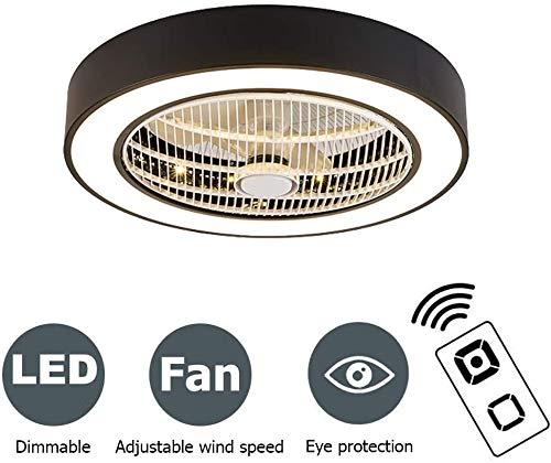 Ventilador de Techo Lámpara de Techo, Moderna LED Ventilador de Techo Control Remoto de Regulable, 80W Lámpara de Techo para Sala de Estar del Guardería Dormitorio, Ø50cm,Negro