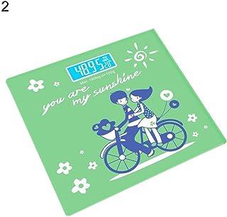 UYZ Báscula de Grasa Corporal de Dibujos Animados Lindo Profesional Báscula de Cuerpo Digital Báscula de Piso Monitor LCD Báscula doméstica Báscula electrónica Inteligente Duradera (Color: Verde