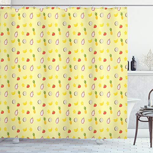 ABAKUHAUS Kokosnuss Duschvorhang, Ananas Banane Tropical, Klare Farben aus Stoff inkl.12 Haken Farbfest Schimmel & Wasser Resistent, 175x220 cm, Mehrfarbig
