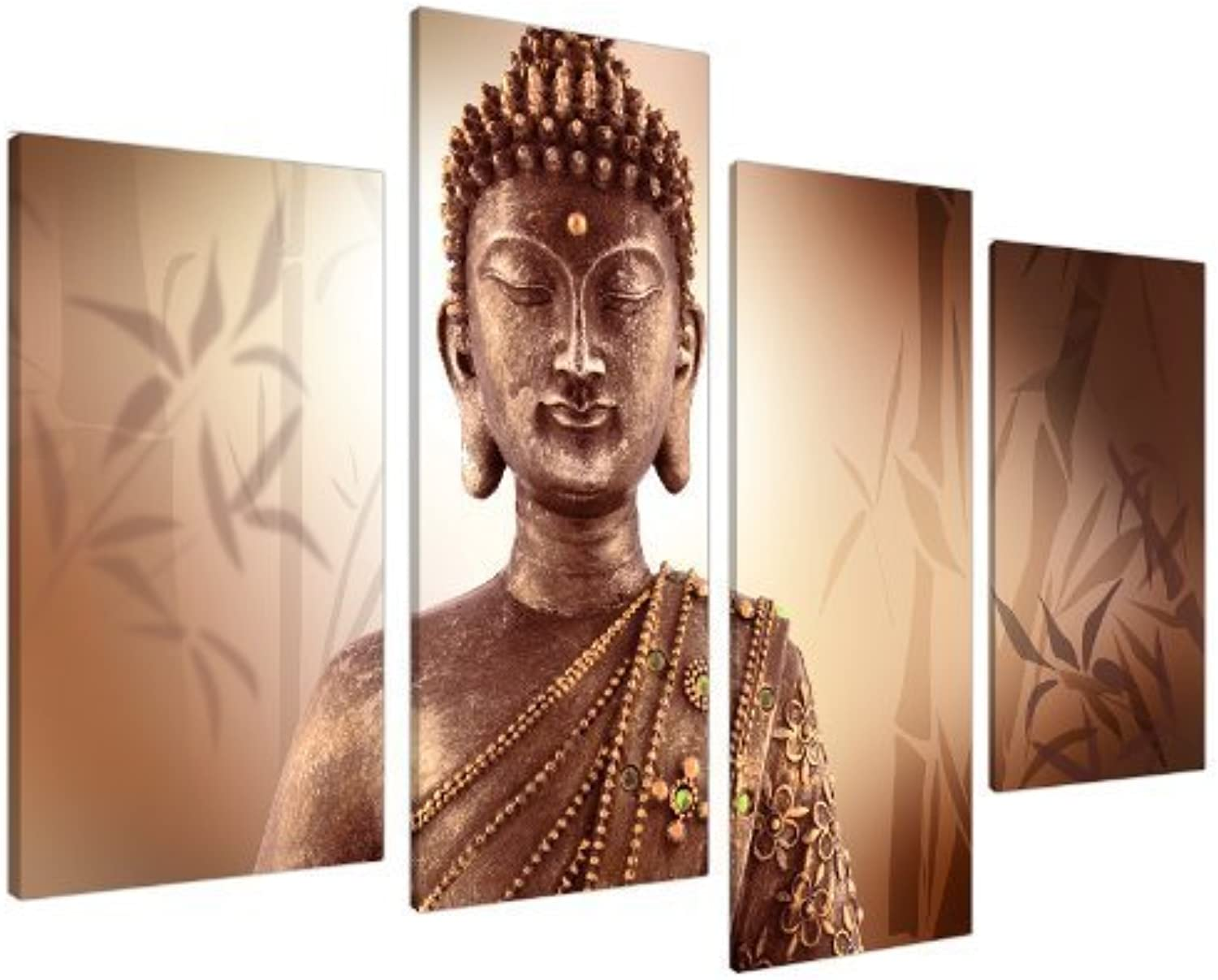 Large Brown Buddha Split Canvas Wall Art Pictures - Modern Inspirational Prints - Big Peaceful Relaxing Artwork - Multi Panel - Set of 4 Canvases - XL - 130cm Wide