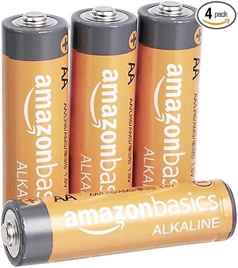Amazon Basics 4 Pack AA High-Performance Alkaline Batteries