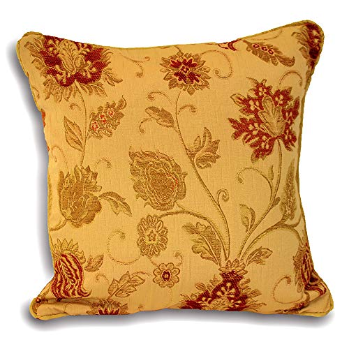Riva Paoletti Zurich Cushion Cover - Gold Yellow - Decorative Floral Jacquard Design - Piped Edges - Reversible - 100% Polyester - 45 x 45cm (18' x 18' inches) - Designed in the UK