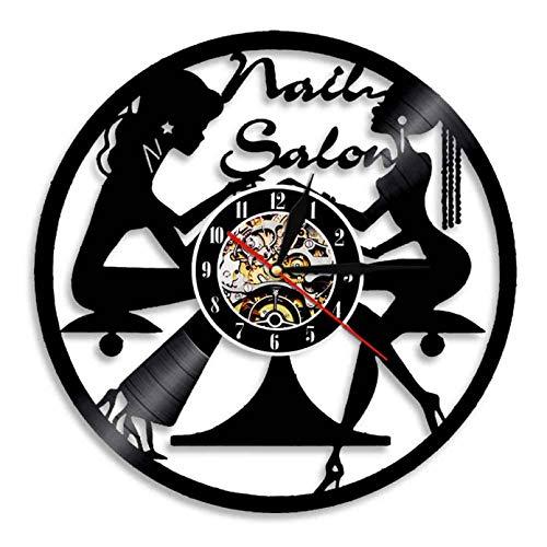 XYVXJ Reloj de Pared con Disco de Vinilo para salón de uñas, Reloj de Cuarzo de 12 Pulgadas, Reloj de Pared 3D, decoración de Pared Interior única para salón de Belleza