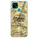 Movilshop Funda para [ OPPO A15 ] LOTR Oficial [Mapa Tierra Media] Tolkien de Silicona Flexible Transparente Carcasa Case Cover Gel para Smartphone.