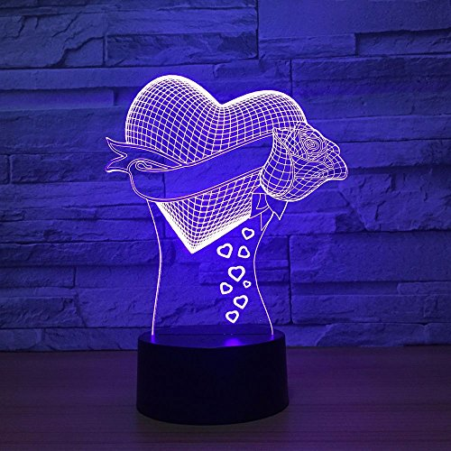 DFDLNL Love Rose 3D Lights Seven Colorful Night Lights Led Touch Control Regalo de San Valentín Luces para niños Lámparas