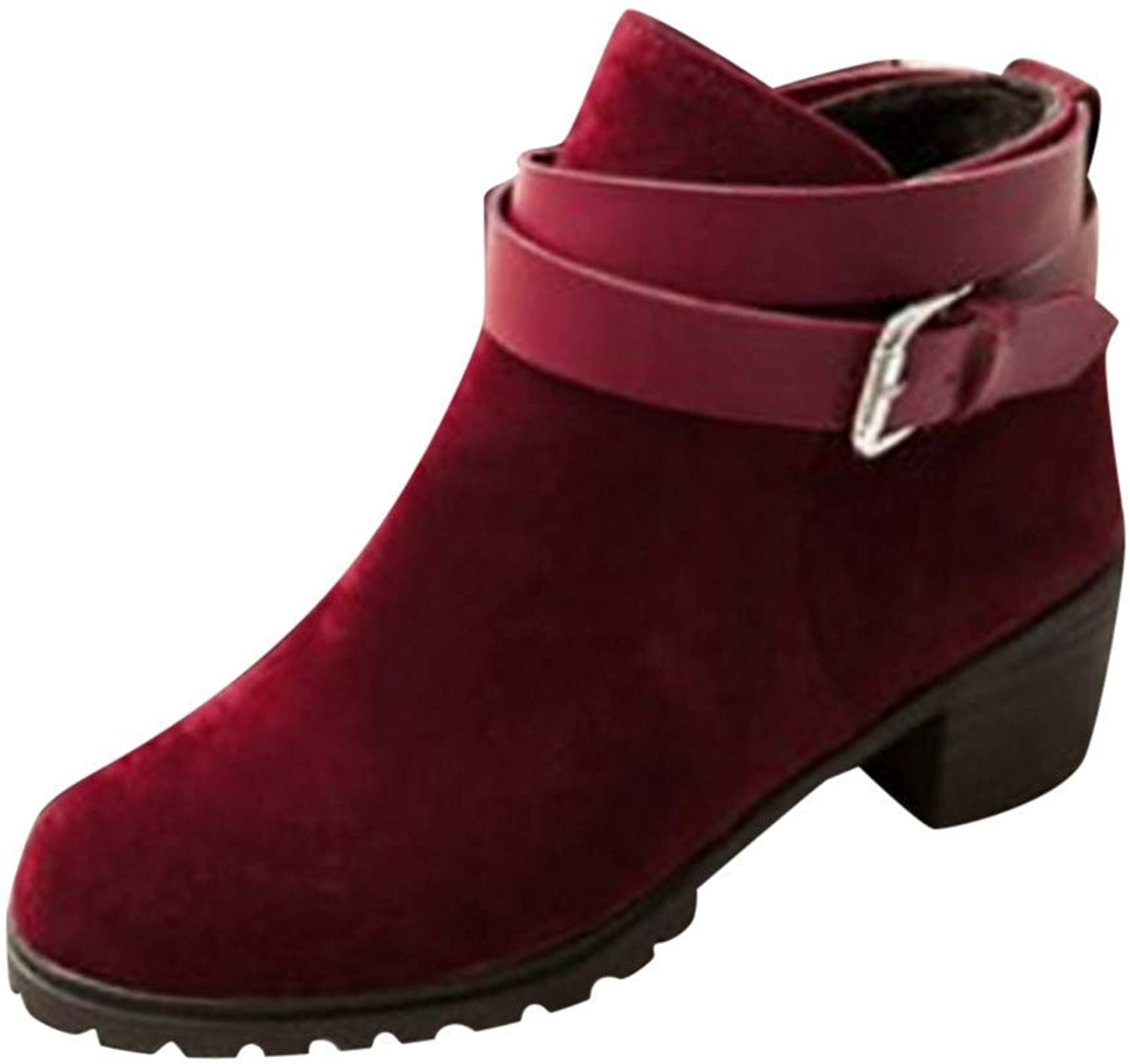JaHGDU Fashion Women's Short Knuckle Boots Buckle Strap Mid Heel Winter Roman shoes Casual Solid color Red for Womens