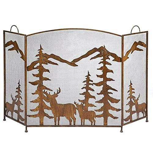 OUPAI Fireplace Screen 3 Panel Folding Fireplace Screen with Handles, Spark Protection Extra Large Fireplace Screen, Rustic Farmhouse Fire Screen Metal Mesh Screen Curtain