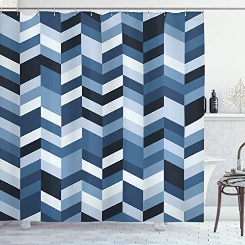 Ambesonne Navy Shower Curtain, Soft Pastel Toned Modern Herringbone Pattern with Zigzag Twisty Stripes Image, Cloth Fabric Bathroom Decor Set with Hooks, 70' Long, Slate Blue