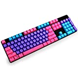Bossi 104 Keycaps Set, Doubleshot PBT Backlit Keycaps OEM Profile for Mechanical Keyboard and Keycap Removal Tool (Pink+Purple+Blue)