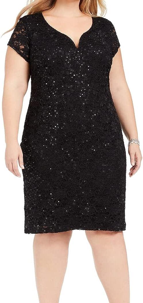 Connected Apparel Women's Dress Plus Sheath Lace Sequin Black 14W