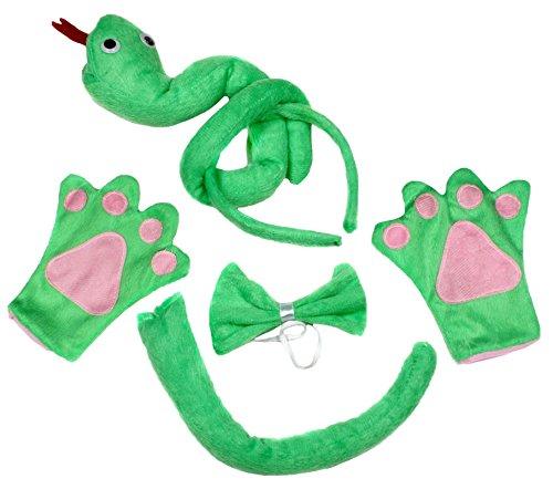 Vert serpent Bandeau Noeud Papillon Queue Gants Lot de 4enfants Costume d'Anniversaire ou fte - vert - Taille Unique