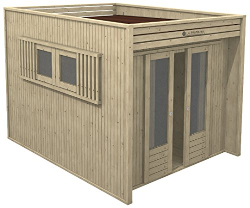 La Pratolina Casetta Moderna da Giardino 2.5x2 Legno di Alta qualità Modello CUBO ad Uso ricovero Attrezzi, bricolage, spogliatoio
