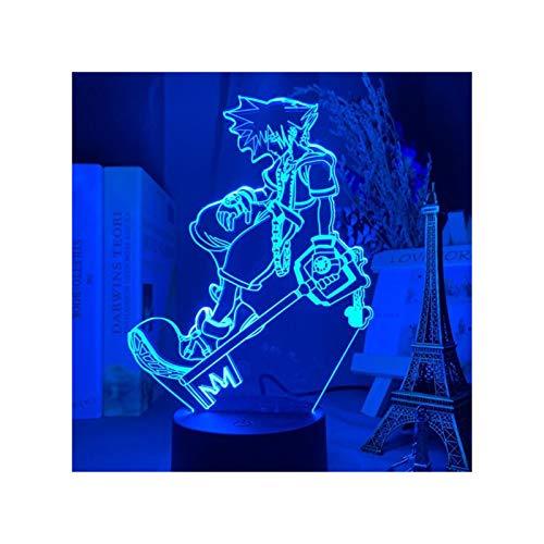 Figuras De Lámpara De Ilusión De Anime Kingdom Hearts Sora 3D Conjunto De Luces De Noche Led Lámpara con Sensor Táctil Figura De Acción Modelo Mesa Visual Figura