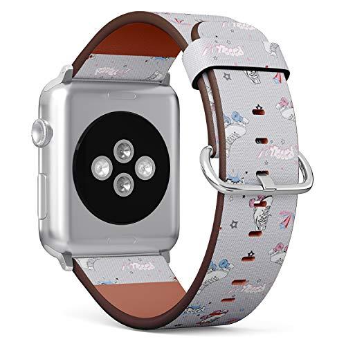 Art-Strap Kompatibel mit für Big Apple Watch 42mm & 44mm - Uhrenarmband Ersatzarmbänder Lederarmband mit Edelstahl-Verschluss und Adapter (Komische Rollschuhe)