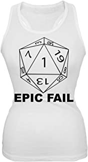 Epic Fail D20 Role Playing Game White Juniors Tank Top