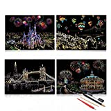 Scratch Art for Adults & Kids, Rainbow Painting Sketch Paper, 4 Pack DIY Craft Night View Scratchboard, 16 X 11.2 Inches A3