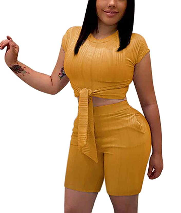 Women's Sexy Two Piece Outfits - Cute Tie Front Crop Top + Skinny Shorts Romper with Pockets