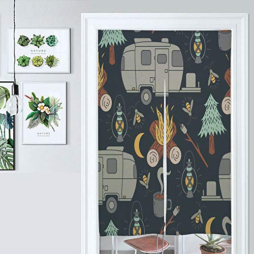 SUPNON Design Japanese Traditional Doorway Curtain Airstream Camping Pattern Door Curtain for Kitchen Bistro Partition Shading Home Decorative IS031573 W39.3 x L59