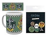Harry Potter 1art1, Slytherin, Blasón Taza Foto (9x8 cm) Y 1, Set De Chapas (15x10 cm)