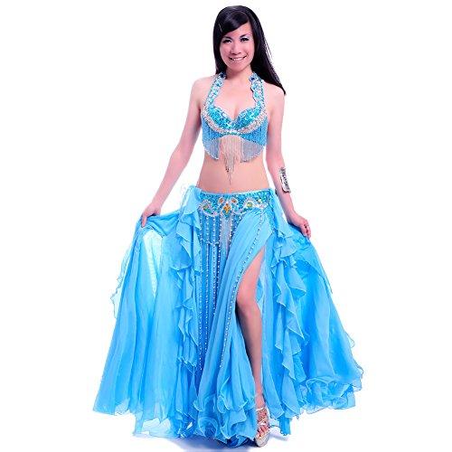 ROYAL SMEELA Buikdans kostuum Dames Beha Riem Rok Set van 3 stuks Buikdanser Kleding voor Vrouwen Flamenco Zigeuner Strass BH en riem Spleet Maxi Lange Rok Rokken Pak