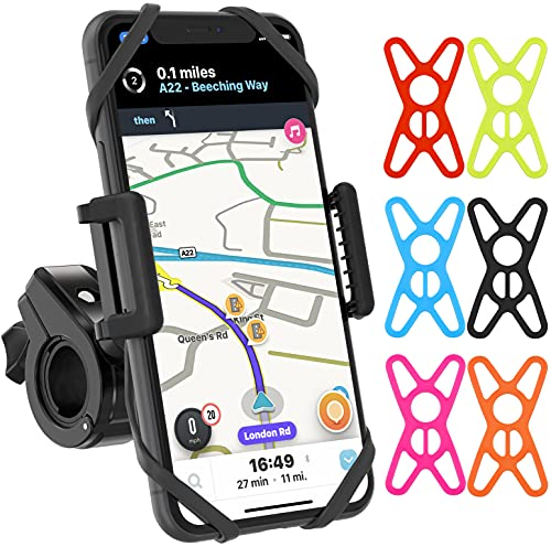 TruActive Unbreakable Bike Phone Holder, Motorbike Phone Holder, Phone Holder for Bike, Bike Phone Mount, 6 Colour Bands, Universal Handlebar and Phone, Cycling GPS Unit, Tool Free Fit, 360 Rotation
