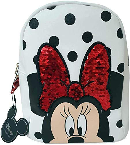 Disney Moda para Mujer Mochila Minnie Mouse Bolso de Hombro para Mujer Primak - Peach-Minnie con Orejas, M