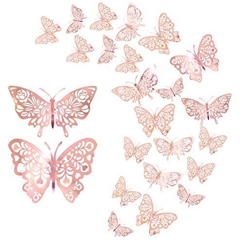24 pezzi adesivi murali farfalla, CattleyaHQ adesivi murali farfalle 3D misti, per casa, camera da letto, decorazione cameretta (oro rosa)