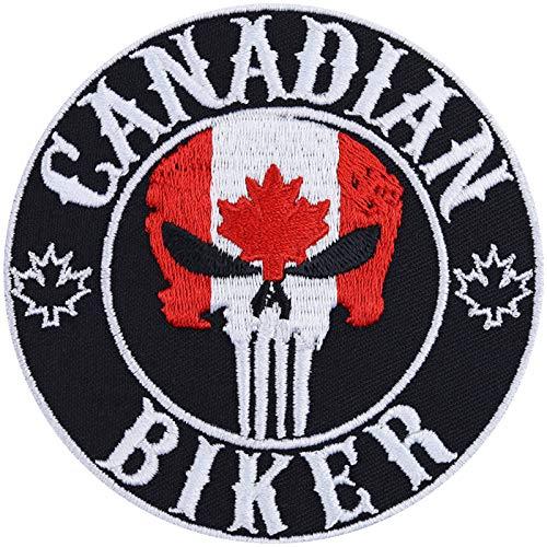 Parche para motero, canadiense, parche para planchado, imagen de canadá, adhesivo de metal, regalo para motociclistas, para chaquetas, chalecos, vaqueros, barcos, maletas, 90 x 90 mm