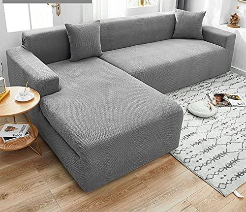 SLOUD Fundas de sofá seccionales, 2 Fundas elásticas para sofá, para Fundas Protectoras de Muebles de sofá seccional en Forma de L-E-En Forma de l 3+3 plazas