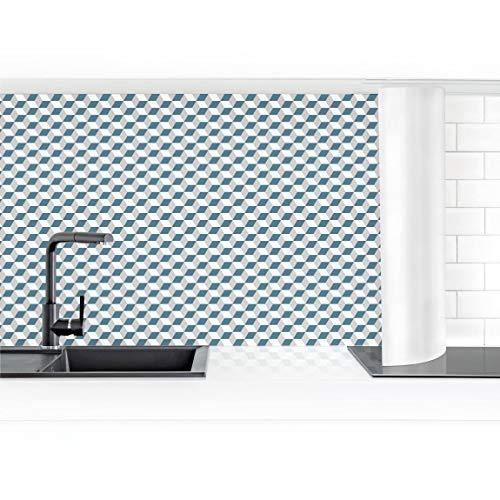 Bilderwelten Revestimiento Pared Cocina - Geometric Tiles Mix Cube Blue Gray 70 x 50 cm Smart