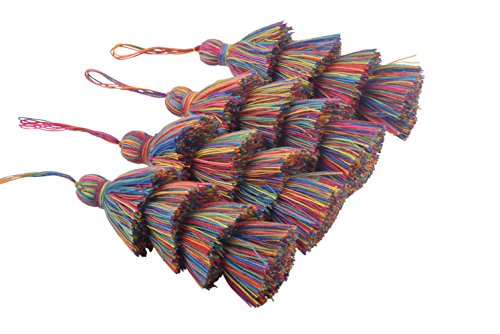 KONMAY 4pcs 3.0(7.5cm) 4 Layers Craft Jewelry Layered Tassels with Hang Loop (Rainbow)