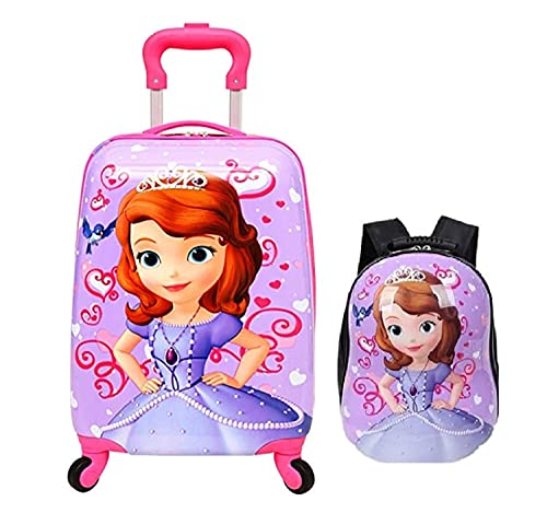 D Paradise Polycarbonate 16 Inches Cartoon Print Multi-Colour Kids Suitcase Trolley Bag with Wheels and 13 inches Hardshell Bag (Sofia)