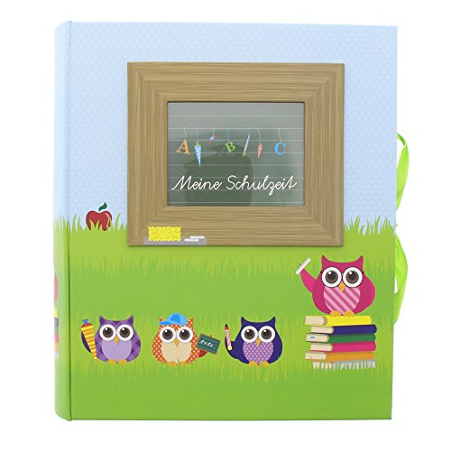 Preisvergleich Produktbild Goldbuch Schulzeit-Sammelbox mit Fensterausschnitt,  Eule,  26 x 24 x 6, 5 cm,  Mit 3 Schubern & Tasche,  Laminierter Kunstdruck,  Blau / Grün,  85043