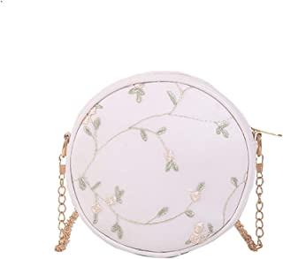 Wultia - Women Wild Embroidered Flower Female Bag Round Small Shoulder Bag Fashion Tassel Women's Crossbody Messenger Bags Ladies #N White