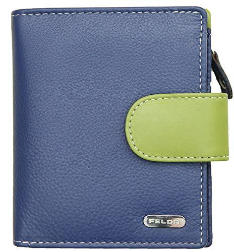 Felda - Cartera de Cuero auténtico con protección RFID - para Mujer - con Caja Regalo - Pequeña - Azul Marino/Multicolor