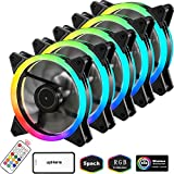 upHere RGB Series Case Fan, Wireless RGB LED 120mm Fan,Quiet Edition High Airflow Adjustable Color LED Case Fan for PC Cases-5 Pack,RGB123-5