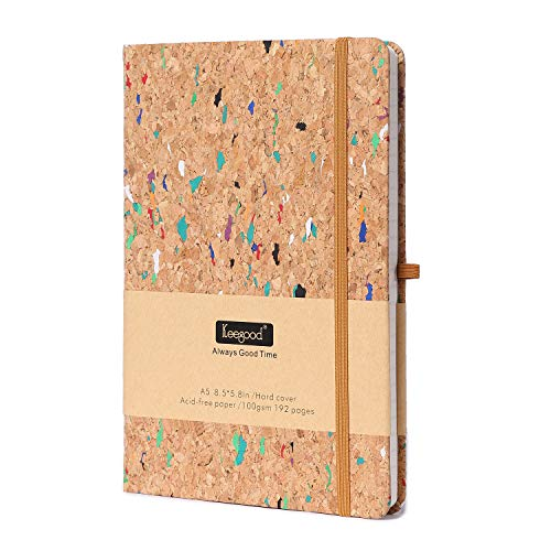 Dot Bullet Paper Notebooks and Journals,Writing Journal with Pen loop,Dot Journal,Hard Cover Writing Notebook with Paper Pocket,8.5x 5.8IN,Wood Color, Premium Thick Paper 192 Pages for School Season