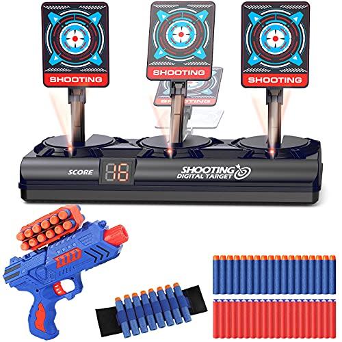Objetivo de Tiro Electrónico, Nerf Diana Digital con 1 Pistola Juguete con 12 Clip de Dardos, 40 Balas Espuma, Rebote Automático & Puntuación & Sonido, Juego Disparos Chicos, Regalo Niños de 4