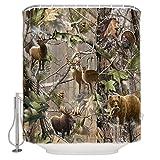 OneHoney Moslion Bird Bear Deer Elk Realtrees Real Tree Design Shower Curtain Standard Inch Size 66'(w) x 72'(h)