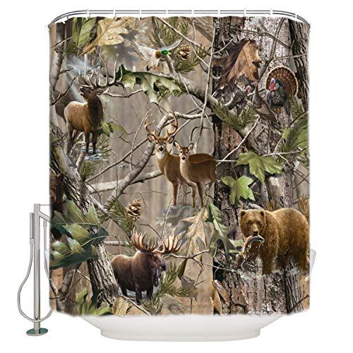"OneHoney Moslion Bird Bear Deer Elk Realtrees Real Tree Design Shower Curtain Standard Inch Size 66""(w) x 72""(h)"