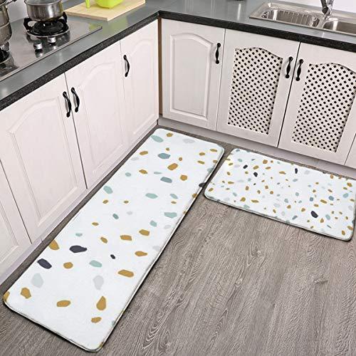 Juego de 2 alfombras de cocina, diseño de terrazzo, textura o azulejo, sin costuras, lavable, juego de alfombrillas de cocina antideslizantes para interiores y exteriores