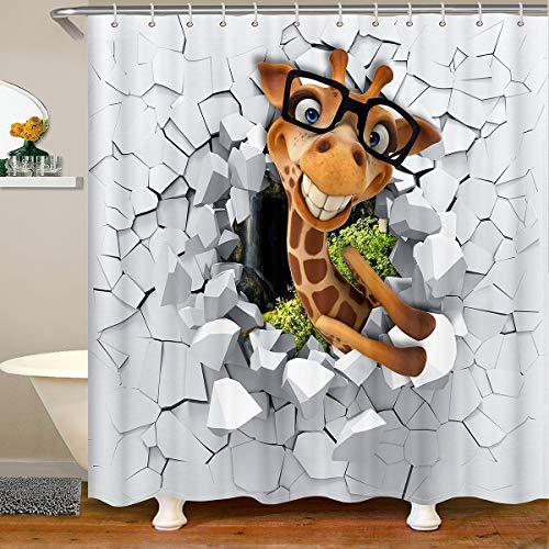 Loussiesd Cortina de baño para niños, diseño de jirafa, cortina de ducha con animales del zoológico, de safari, de tela salvaje, juego de cortina de ducha para niños, de 180 x 180 cm